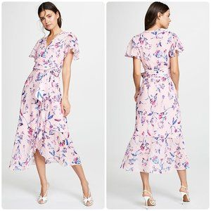 Tanya Taylor Blaire Wrap Midi Dress Floral Pink